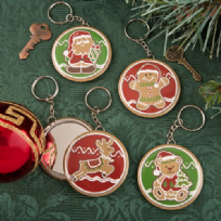 Gingerbread Themed Christmas Compact Mirror On Key Ring